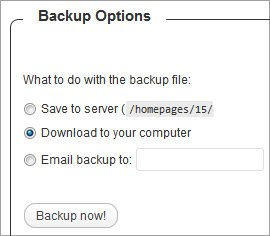 Archive de base de donnée avec Wp db backup