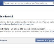 Alerte de sécurité trend micro sur facebook