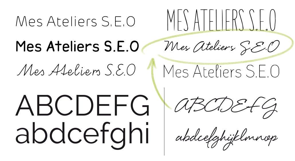 Création de logo mes ateliers SEO sélection typographique