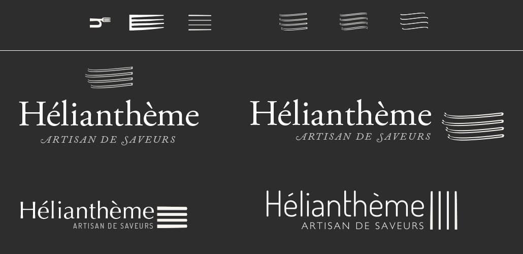 Première propositions création graphique du logo Helianthème