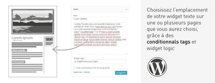 widget texte conditionnal tags