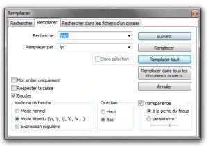 Rechercher remplacer avancé Notepad