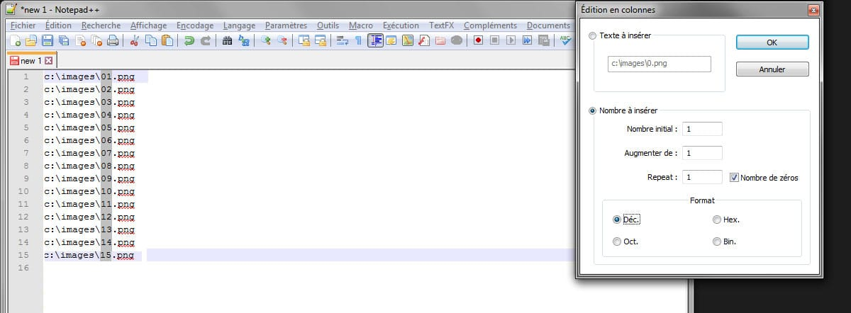 Incrémental nombre notepad++