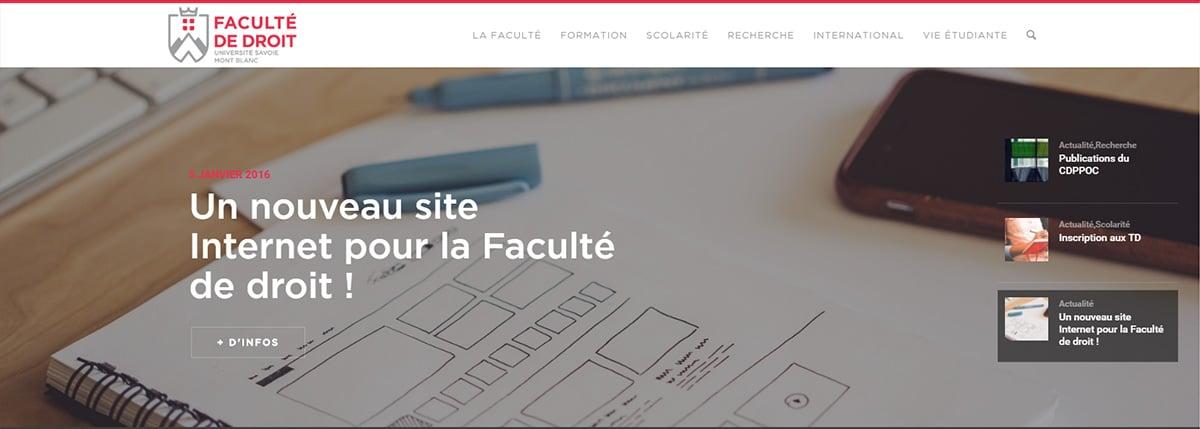 Nouveau site WordPress Faculté droit université Chambéry