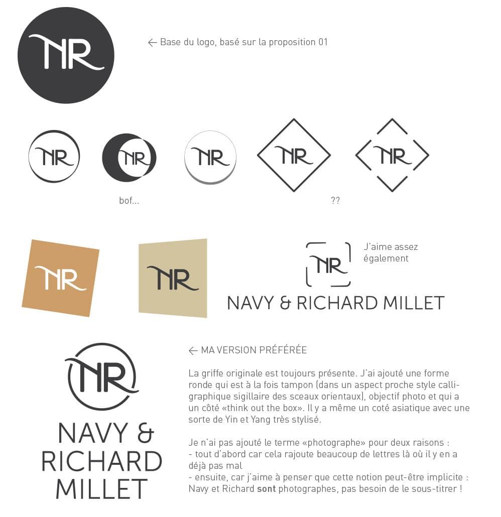 Travail et rough création originale logo photographie