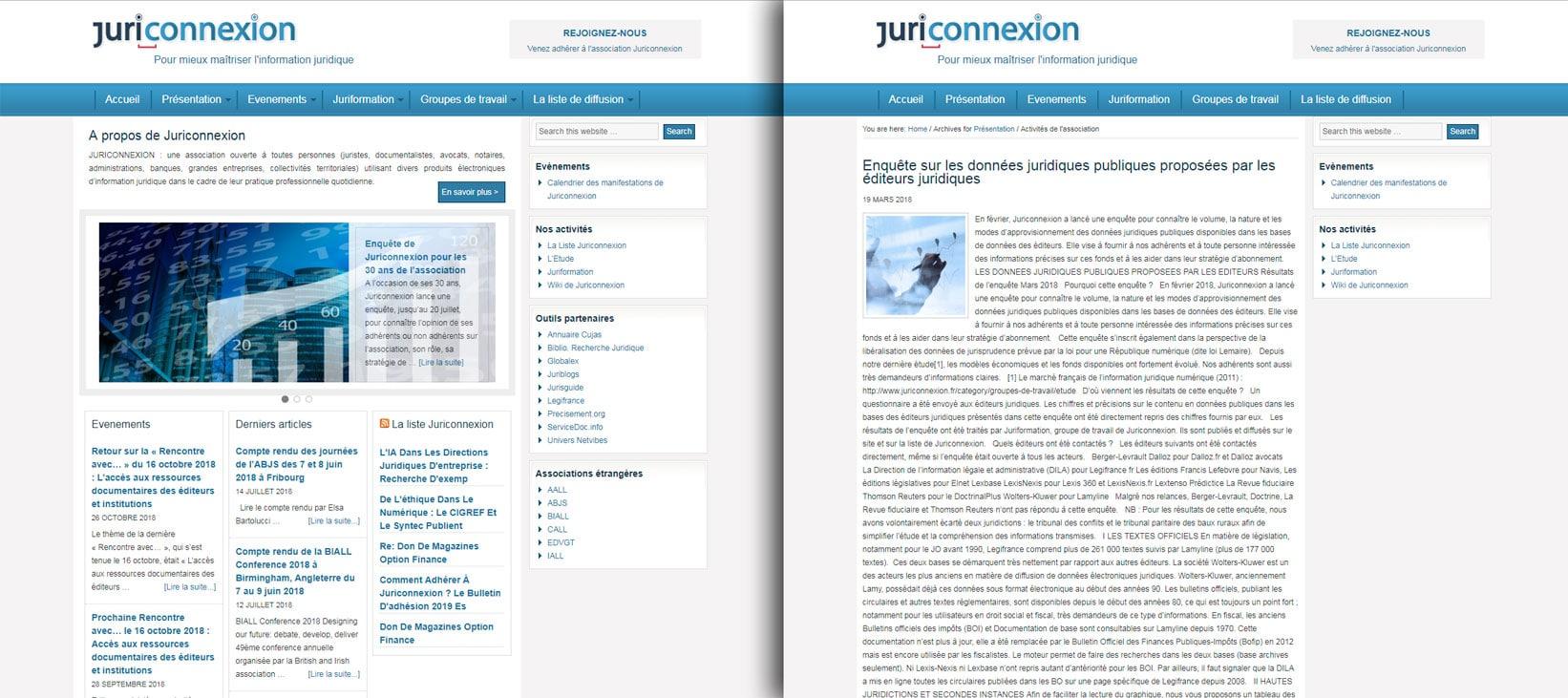 Juriconnexion refonte de site WordPress