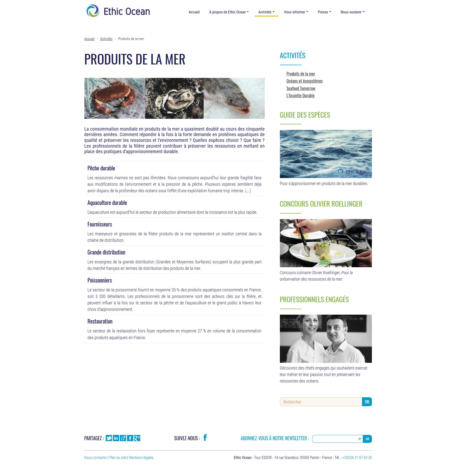 Ancienne version spip du site Ethic Ocean